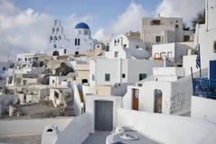 Een vooruitzichtmening van Santorini-Eilanden Griekenland Stock Foto's