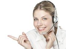 Een vriendschappelijke secretaresse/een telefoonexploitant Stock Afbeeldingen