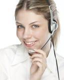 Een vriendschappelijke secretaresse/een telefoonexploitant Stock Foto