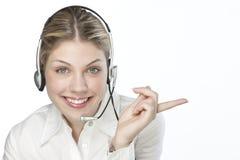 Een vriendschappelijke secretaresse/telefoonoperato stock fotografie