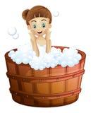 Een vrij jonge dame die een bad nemen royalty-vrije illustratie