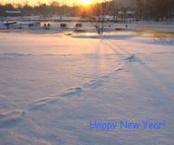 Een vroege zonnige de winterochtend Royalty-vrije Stock Afbeelding