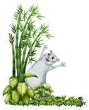 Een vrolijk dier naast een bamboeboom stock illustratie