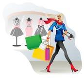 Een vrolijk en blij meisje gaat winkelend met royalty-vrije illustratie