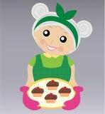 Een vrolijke grootmoeder bereidt een heerlijk dessert voor vector illustratie