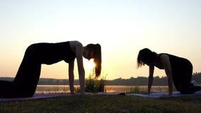 Een Vrouw bevindt zich op Al Fours op een Mat, opheft Haar Been omhoog, bij Zonsondergang stock videobeelden