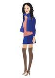 Een vrouw in blauw kostuum Stock Afbeelding