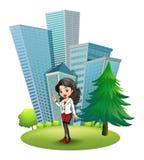 Een vrouw buiten de grote gebouwen vector illustratie
