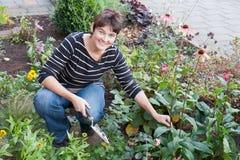Een vrouw die in de tuin van haar huis tuiniert Royalty-vrije Stock Foto's
