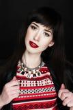 Een vrouw die een leerjasje dragen Royalty-vrije Stock Fotografie