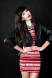 Een vrouw die een leerjasje dragen Royalty-vrije Stock Afbeelding