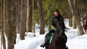 Een vrouw die een paard in het bos berijden stock video