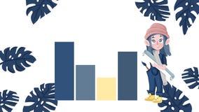 Een vrouw die een presentatie voor grafische achtergrond van grafieken, grafieken, en gegevens geven royalty-vrije illustratie
