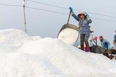 Een vrouw dumpt zout in Hon Khoi de zoute gebieden in Nha Trang, wedijveren Royalty-vrije Stock Afbeeldingen