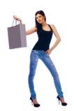 Een vrouw in een donkere blouse Royalty-vrije Stock Foto's