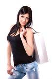 Een vrouw in een donkere blouse Stock Foto's