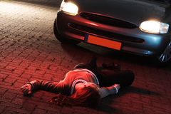 Een vrouw Gedood in een Ongeval van de Auto Stock Afbeelding