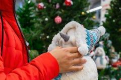 Een vrouw houdt een Nieuwjaarsneeuwman royalty-vrije stock afbeeldingen