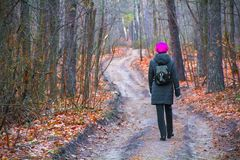 Een vrouw loopt langs een weg in een park in een bos in de herfst stock foto