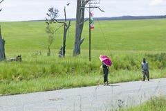 Een vrouw met een helder gekleurde roze paraplu die door de groene grasrijke gebieden van Zoeloeland, Zuid-Afrika lopen Royalty-vrije Stock Fotografie