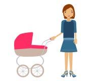 Een vrouw met een kinderwagen Royalty-vrije Stock Foto's