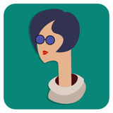Een vrouw met een lange hals in blauwe glazen Vlak avatar pictogram Stock Afbeeldingen