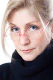Een vrouw met glazen Royalty-vrije Stock Fotografie