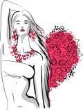 Een vrouw met harten Stock Foto