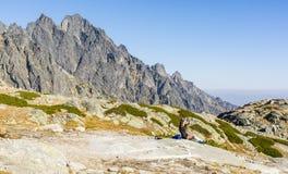 Een vrouw na een berg stelt rust in werking en maakt herdenkingsfoto's met een smartphone royalty-vrije stock foto's