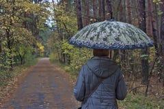Een vrouw onder een paraplu gaat  stock afbeeldingen