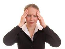 Een vrouw onder spanning. stock foto