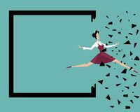Een vrouw springt voorbij haar eigen grenzen: Brekende grenzen Stock Afbeelding