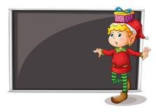 Een vrouwelijk elf naast een lege grijze raad Royalty-vrije Stock Afbeeldingen