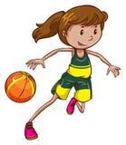 Een vrouwelijke basketbalspeler Royalty-vrije Stock Afbeeldingen