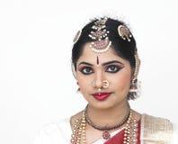 Een vrouwelijke danser van India stock afbeeldingen