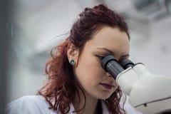 Een vrouwelijke medische of wetenschappelijke onderzoeker of vrouwenarts lookin Royalty-vrije Stock Foto