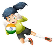 Een vrouwelijke speler die de bal met vlag van India gebruiken royalty-vrije illustratie