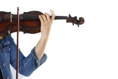 Een vrouwelijke violist die de viool speelt Royalty-vrije Stock Foto