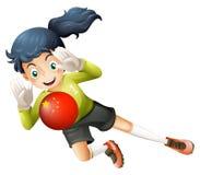 Een vrouwelijke voetballer die de bal met de vlag van China gebruiken royalty-vrije illustratie