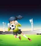 Een vrouwelijke voetbalster vector illustratie