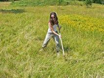 Een vrouwen maaiend en scything gras op het gebied dood Stock Foto