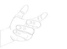 Een vrouwen` s hand houdt iets onzichtbaar Lege plaats voor uw advertentie stock illustratie