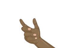 Een vrouwen` s zwarte hand houdt iets onzichtbaar Lege plaats stock illustratie