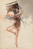 Een vrouwenholding boven haar hoofdbandrecorder Getrokken hand illust Stock Foto