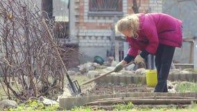 Een vrouwenlandbouwer werkt het land met een schoffel stock videobeelden