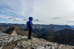 Een vrouwenwandelaar bewondert de topmening, Colorado Rocky Mountains stock foto