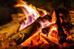 Een vuur van het close-up dat van het berkbrandhout wordt gemaakt Royalty-vrije Stock Fotografie