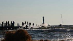 Een vuurtoren bij Meer Michigan, Holland stock footage