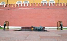 Een wacht van eer bij het Graf van de Onbekende Militair dichtbij de muur van het Kremlin Stock Afbeelding