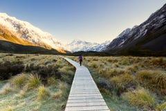 Een wandelaar die door mooi landschap wordt gefascineerd stock fotografie